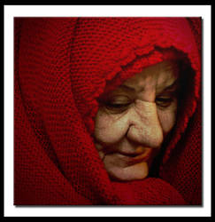 old lady in red