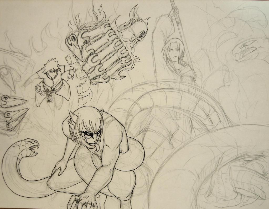 Sasuke Lineart : Itachi sasuke vs kabuto wip by minhquach on deviantart