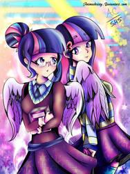 Shy Bookworm Sci and Twi by Animechristy