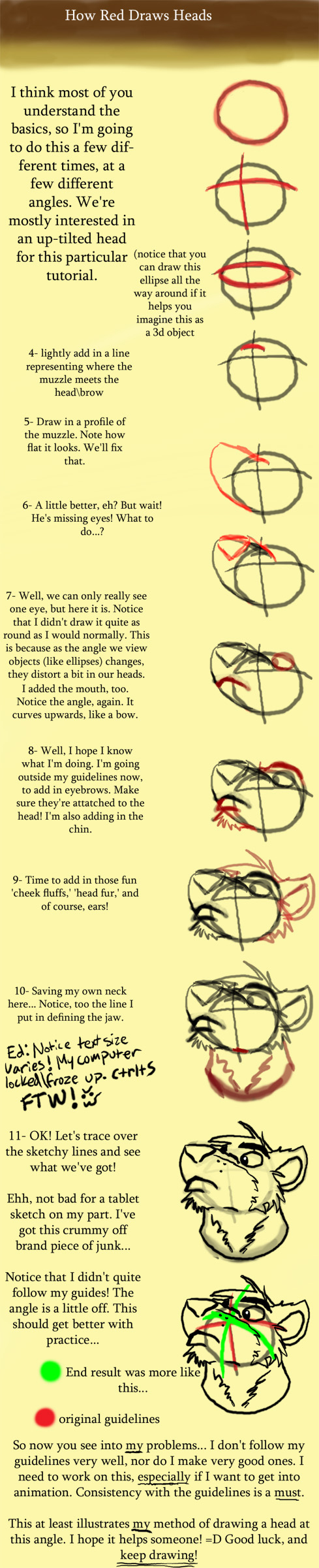 How Red Draws heads Tutorial by anthro-tuts