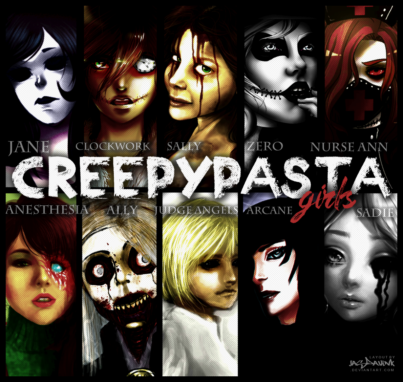 2016 Creepypasta Chicks. by Dav-Ink on DeviantArt