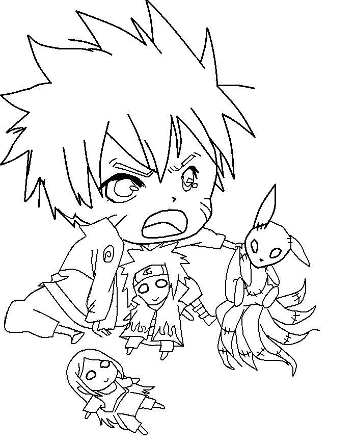 Cute Chibi Naruto Lineart by GothicXPrincess99