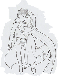 Superman and  Rapunzel by Magneum