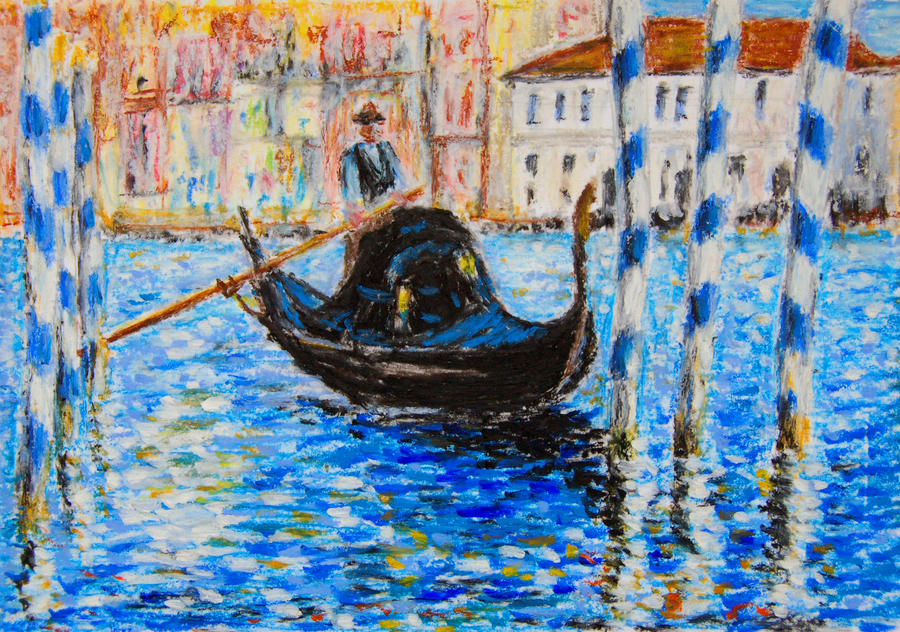 Blue Venice - oil pastels by davepuls