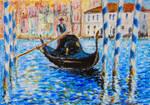 Blue Venice - oil pastels