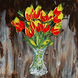 Cadmium Tulips in Vase