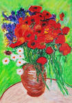 Red Poppies and Daisies  by davepuls