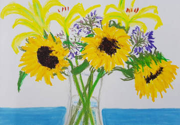 Sunflowers in vase by davepuls