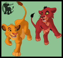 Mufasa and Scar as Cubs by Nysradi