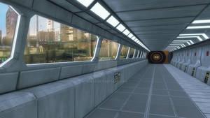 3d rendering. Futuristic background architecture c