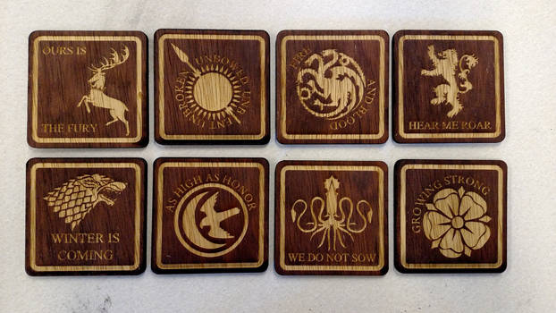 Game of Thrones coasters - all houses