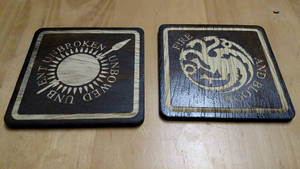 Game of Thrones coasters - Martell and Targaryen