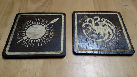 Game of Thrones coasters - Martell and Targaryen by RaptorAttacks