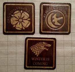 Game of Thrones coasters - Tyrell, Arryn, Stark by RaptorAttacks