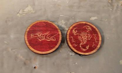 VtM wooden coins - clan Assamite