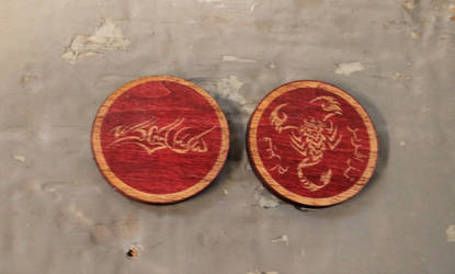 VtM wooden coins - clan Assamite by RaptorAttacks
