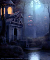 Elven Town  - night version by SnowSkadi