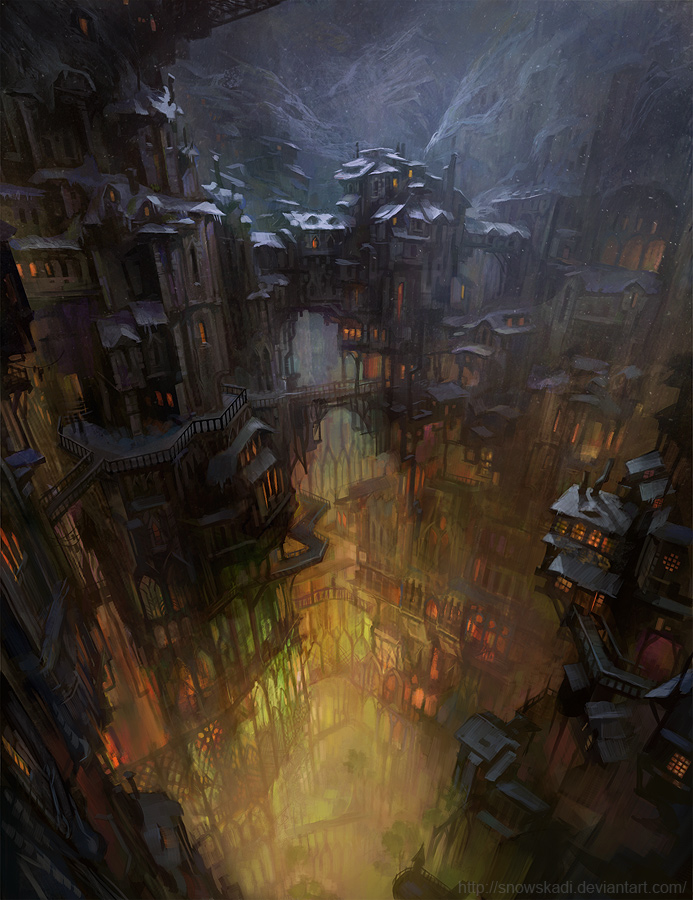 City in cave by SnowSkadi