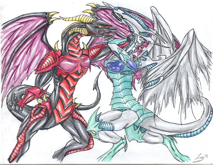Red Dragon Archfiend vs. Stardust Dragon by DizzySweaterKitty