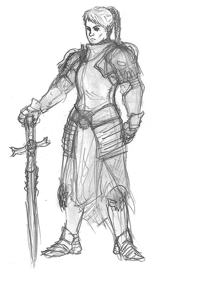 Sketch 1 - Female knight by VOLKBR