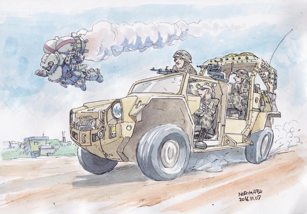 Army-and-robot by NORIMATSUKeiichi