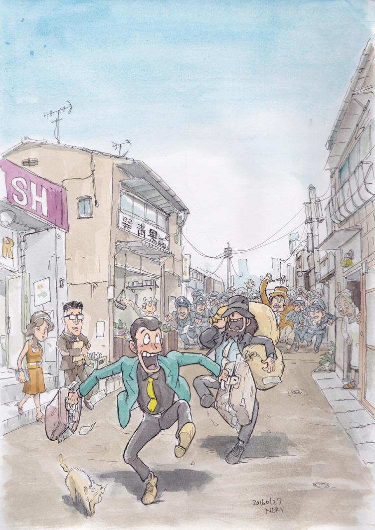 Lupin3rd-run-through-the-street by NORIMATSUKeiichi