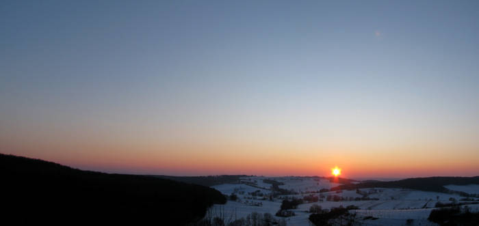 Winter Sunset in Clear Sky