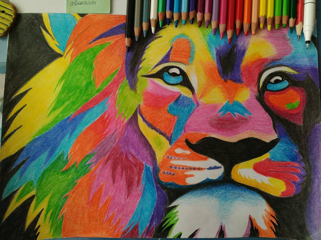 lion colorful drawing draw colorfullion cray by krokerov on