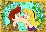 Taran and Eilonwy kiss colour