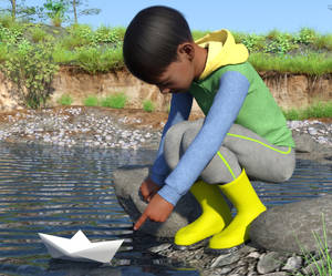 Boy with paper boat