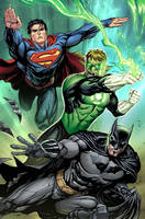 Superman, GL, Batman by Wesflo