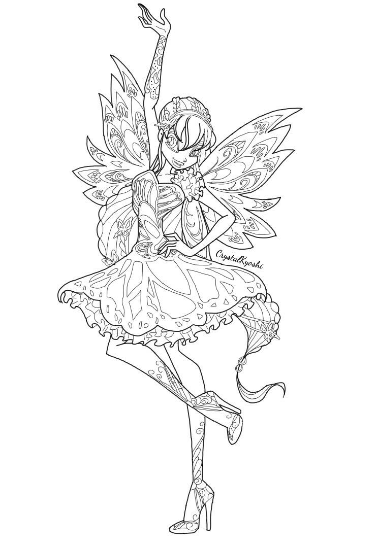 Stella butterflix lineart by crystalkyoshi on deviantart for Winx stella coloring pages