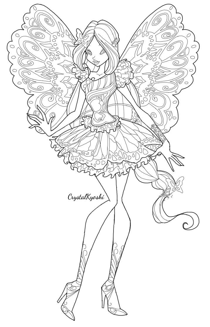 Flora butterflix lineart by crystalkyoshi on deviantart for Winx club coloring pages flora