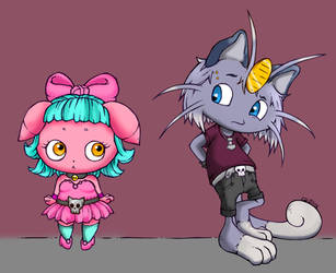 Pink Espurr And Dark Meowth an unusual pair by bbbhyt