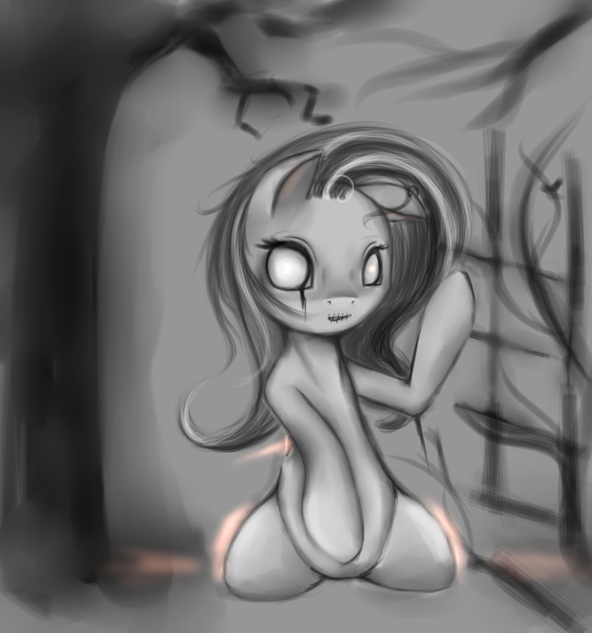 Ghost Fluttershy or Dark Flutty (I don't know :D) by AshesDarkPony