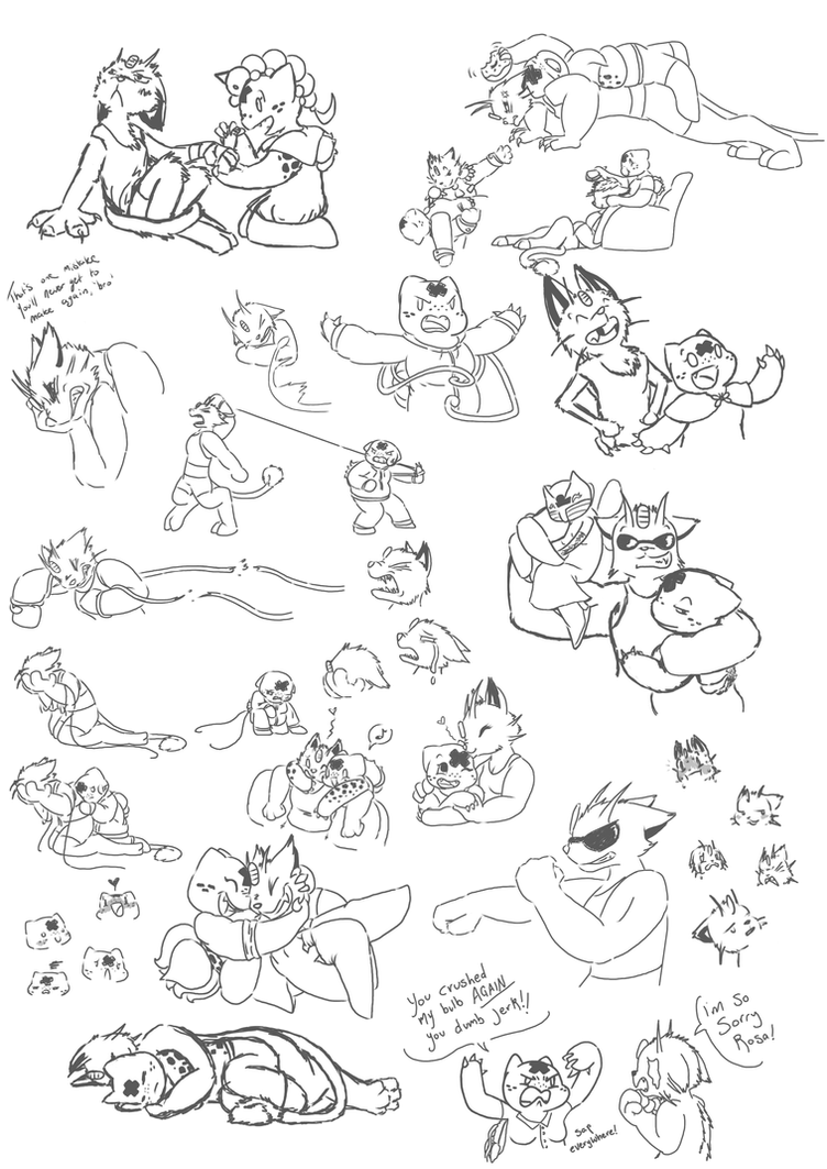 Rosa and Lucky sketch dump by Moxximillion