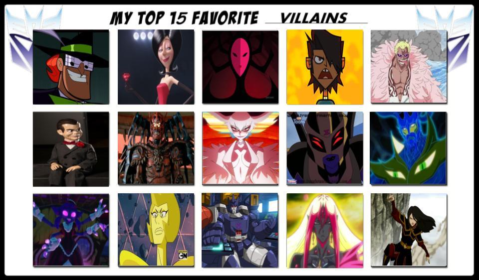 My Top 15 Favorite Villains by magmon47