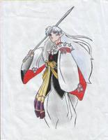 Sesshomaru COLORED by HYBRIDofHOPE