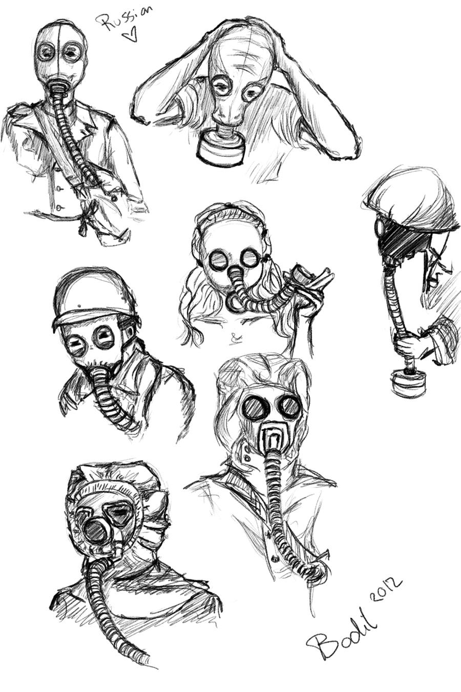 pictures of easy gas mask drawings