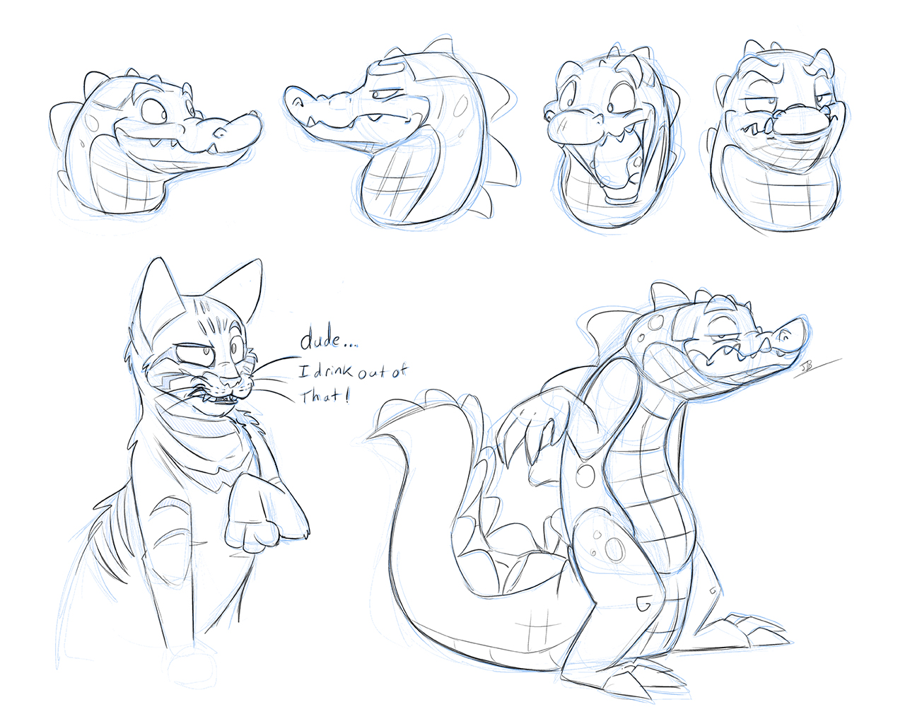Sketch Night - Crocs and Cats by secoh2000