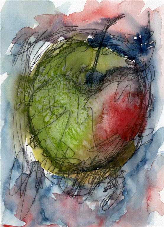 Ink and watercolour apple by rev-Jesse-C