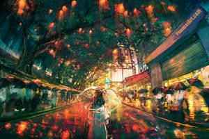 Hong Kong Lights by yuumei