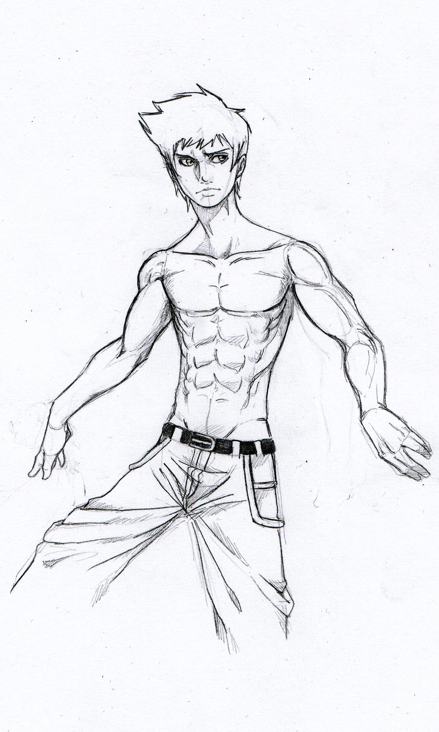 It is an image of Gutsy Muscular Guy Drawing