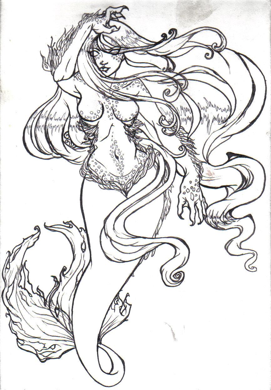 Mermaid lines by KinnaCaffeinated on DeviantArt |Mermaid Line Drawing