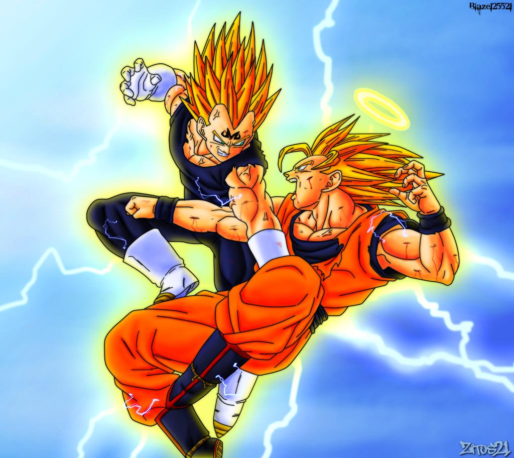Goku vs majin vegeta colab by grim zitos on deviantart - Majin vegeta pics ...