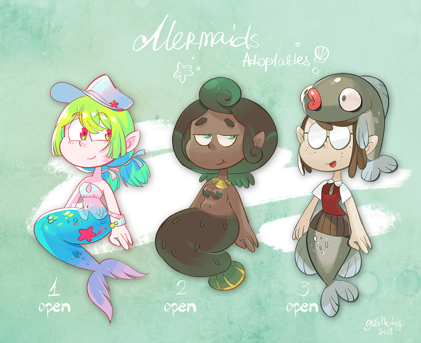 Mermaids adoptables [OPEN 3/3] by gobithedogsadopts