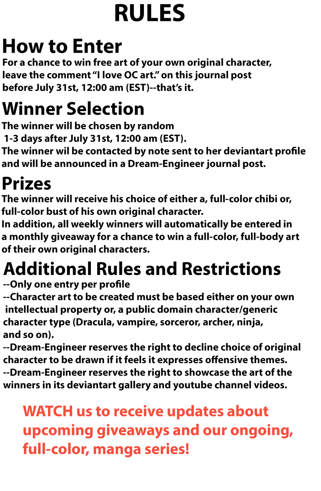 Free OC Art Giveaway Rules and Restrictions week 4 by Dream-Engineer