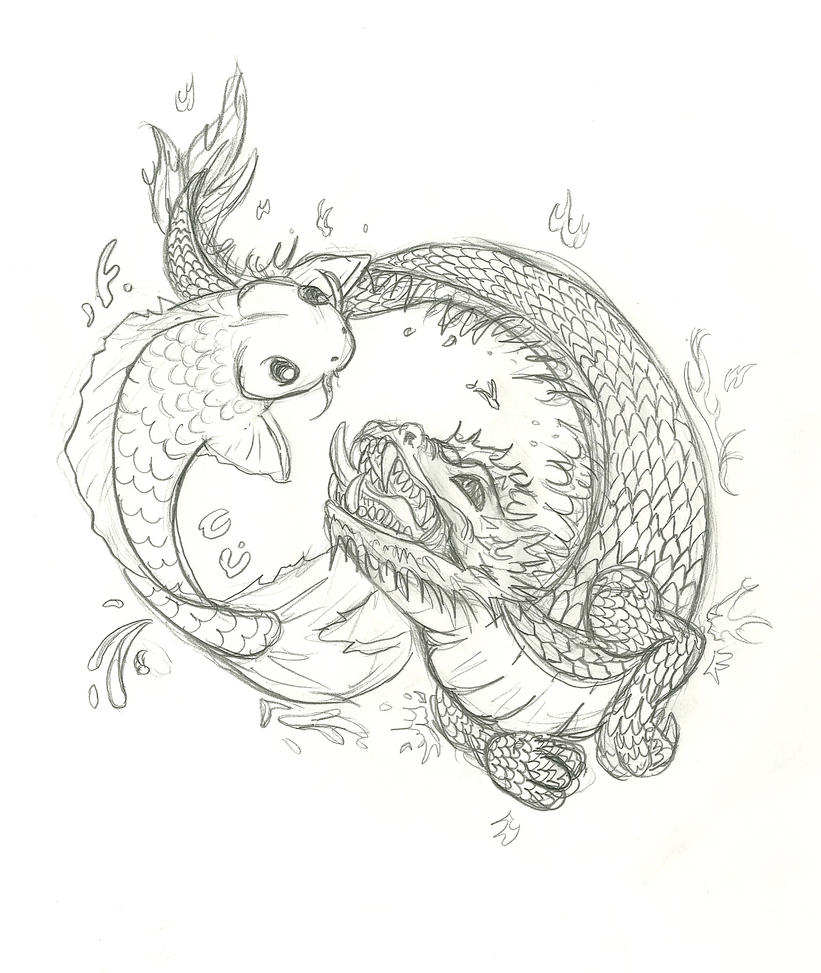 Koi and dragon tattoo by inu87 on deviantart for Large coy fish