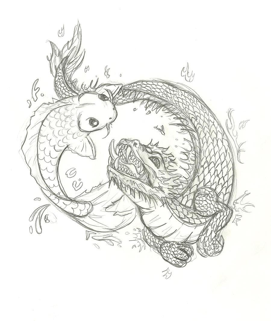 Koi And Dragon Tattoo By Inu87
