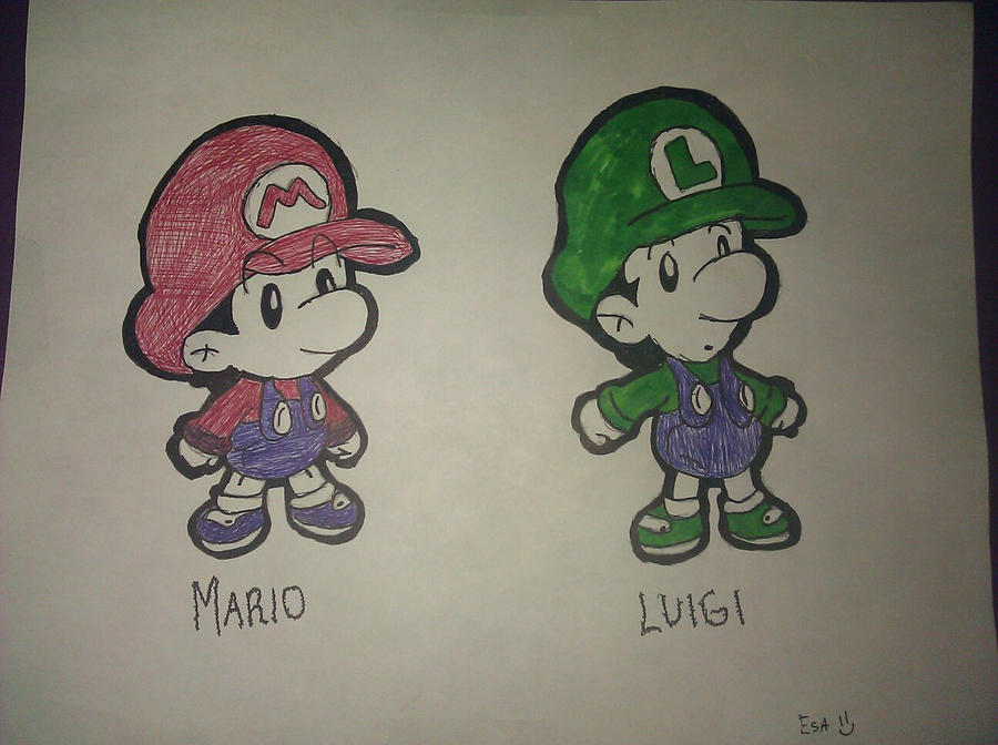 baby mario and luigi drawing by techy8esa on deviantart